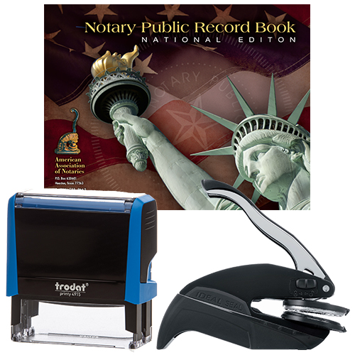 Notary Supplies Deluxe Package - P4 Stamp and Your Choice of Embosser (OR-WA-WV)