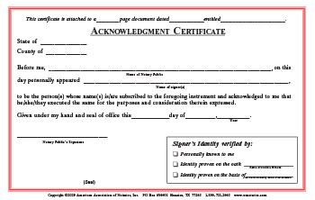 Colorado Acknowledgment Notarial Certificate Pad