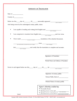 New Hampshire Affidavit/Translator Notarial Certificate Pad