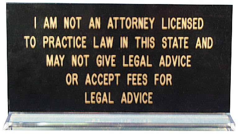 I Am Not a Lawyer Idaho Notary Desk Sign