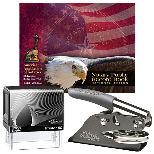 Notary Supplies Deluxe Package - Microban Stamp and Your Choice of Embosser (OR-WA-WV)
