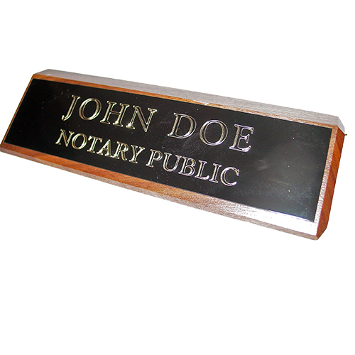 Idaho Notary Walnut Desk Sign
