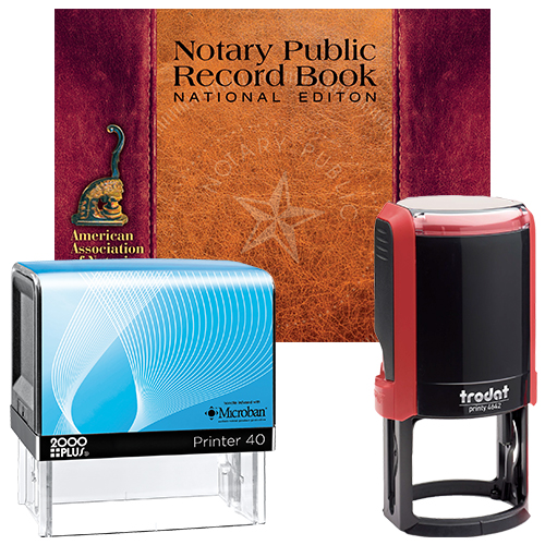 Notary Supplies Deluxe Package (NE-ND) - Includes Microban and Round Notary Stamps