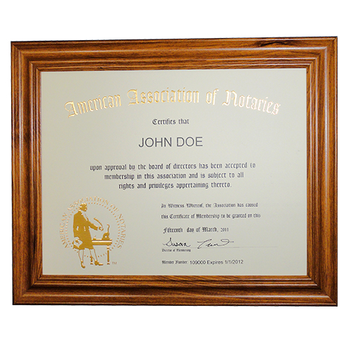 This Alaska notary deluxe membership certificate frame allows you to show off your notary membership in one of the most prestigious notary associations in the U.S. The frame includes a gold embossed 8.5 x 11 inches certificate with AAN logo, your name, membership number, membership expiration date, and the signature of our membership director. This item may only be purchased by active members of the American Association of Notaries. </p></p></p></p></p>