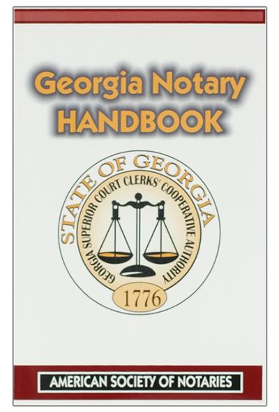 Georgia notary educational book. Prepare yourself to be a successful Georgia notary public with this notary law book, which contains over 100 pages of valuable notary information. The Georgia notary law manual is designed to help you reduce your risk of liability by guiding you to follow proper notarial procedures. Learn how to perform notarial acts correctly and how to avoid costly mistakes. This Georgia notary handbook also reveals vital techniques and disciplines that will enable you to adhere confidently to Georgia notary law.