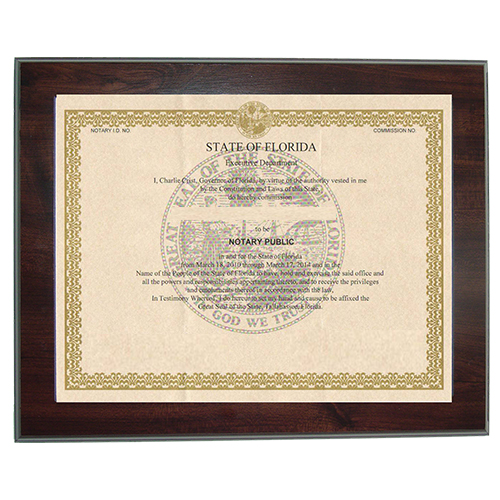 Guard your North Carolina notary commission certificate from loss or damage with this 8-1/2 x 11 inches elegant cherry wood finish frame that makes an attractive addition to any office. Simply slide your North Carolina notary certificate in from the side. No need for nails or screws. Designed to fit 8-1/2 x 11 inch certificates. We can also custom make a frame to fit any state's notary certificates.