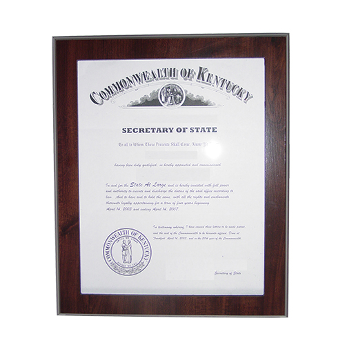 This 11 x 8-1/2 elegant cherry wood finish New Hampshire notary certificate frame makes an attractive addition to any office. Simply slide your New Hampshire notary certificate in from the side. No need for nails or screws. Designed to fit 8-1/2 x 11 inch certificates. We can also custom make a frame to fit any state's notary certificates. This New Hampshire notary certificate frame will Guard your New Hampshire notary commission certificate from damage with this elegant cherry wood finish frame that makes an attractive addition to any office.