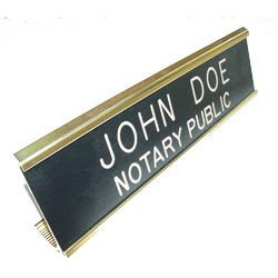 Iowa notary desk signs are an essential part of presenting a professional image in the modern day work environment. This elegant, brass metal desk sign engraved with your name and the wording 'Notary Public' on an acrylic plate will make a fine addition to your office. This sign can be customized with up to two lines. Please type in any special customization instructions in the instruction box at checkout.