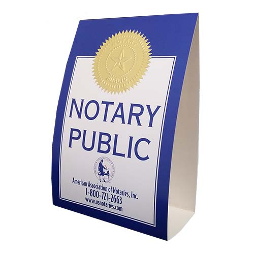 This is an economical paper tent version of our Ohio display signs. Attractive, distinguishes you as a Notary Public.