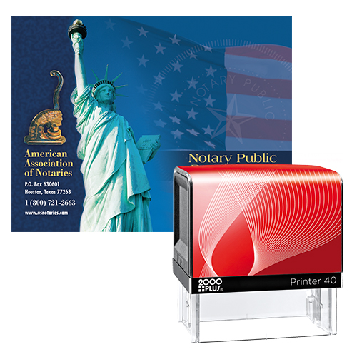 The Kansas notary supplies value package II contains everything you need, in accordance with Kansas notary laws, to perform your notarial duties correctly and efficiently. This notary supplies package includes Kansas notary stamp item # KS210 and Kansas notary record Book item # KS702. The KS notary stamp is available in several case colors and five ink colors. The notary record book includes entries for 350 records and complies with Kansas notary laws. The notary stamp is produces thousands of perfect and consistent notary stamp impressions, stamp-after-stamp, without the need for an ink pad or re-inking. The modern, ergonomic design of this stamp soft-touch exterior fits comfortably in your hand and with gentle pressure produces the sharpest Kansas notary stamp impression with ease. An index label allows you to quickly identify your notary stamp and ensures a right-side-up impression. A clear base positioning window guarantees accurate placement of your notary stamp on documents. With the click of a button, the ink pad - which is built into the notary stamp - can easily be accessed for changing or refilling. A free one-year membership to AAN - a $19.00 value - is included with the purchase of this value notary supplies package at no additional cost and with no obligation to renew.