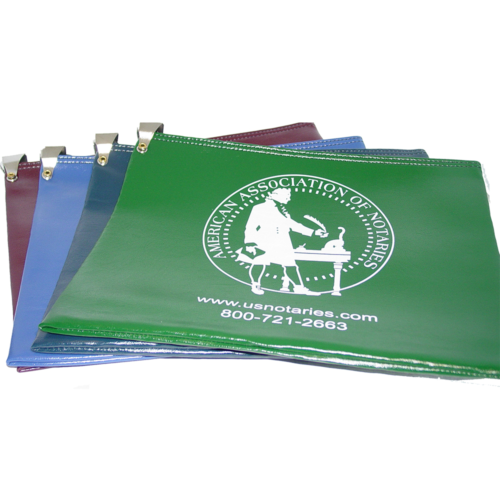 Don't risk misplacing your Oregon notary supplies. This notary locking zipper bag is an ideal and convenient way to store, transport, and secure your Oregon notary supplies. The bag easily carries your Oregon notary record book, notary stamp, and notary seal embosser. Made of durable leatherette material (soft vinyl). Imprinted on one side of the bag with the AAN logo. Available in 6 colors. </p></p></p></p>