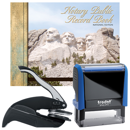 The Maine notary supplies premier package contains everything you need, to perform your notarial duties correctly and efficiently. The Maine notary supplies premier package includes handheld notary seal embosser, notary Stamp, and notary journal. The notary seal produces thousands of perfect and consistent notary seal impressions. The notary stamp is available in several case colors and five ink colors, produces thousands of perfect and consistent notary stamp impressions, stamp-after-stamp, without the need for an ink pad or re-inking. The modern, ergonomic design of this stamp soft-touch exterior fits comfortably in your hand and with gentle pressure produces the sharpest Maine notary stamp impression with ease. An index label allows you to quickly identify your notary stamp and ensures a right-side-up impression. A clear base positioning window guarantees accurate placement of your notary stamp on documents. With the click of a button, the ink pad - which is built into the notary stamp - can easily be accessed for changing or refilling. The notary seal embosser makes with ease and little pressure a clear and crisp raised notary seal impression every time even on thick cardstock paper.