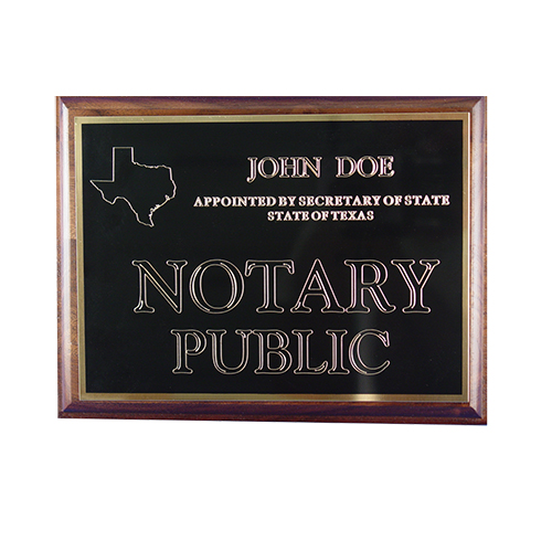 This Missouri notary deluxe wall sign is mounted on an attractive walnut plaque and engraved on a metal plate with gold lettering with your name, your state, and the wording 'Notary Public'. This sign makes a fine addition to any office.